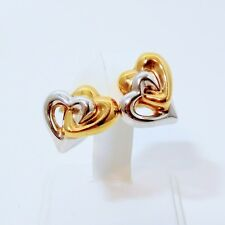 14k Gold Two Tone White & Gold Valentines Angel Double Heart Stud Earrings