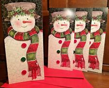 New Holiday Christmas Card Set of 4 With Envelopes 4 x 9In Snowman Buttons Scarf