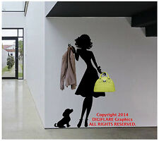 Fashion Wall Decal Woman and Dog Coat Rack Art Sticker Mural