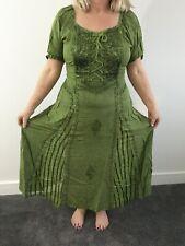 Corsé Medieval Renacimiento pagano Largo Verde Vestido Talla Grande UK 12 14 16