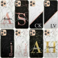 Initial Phone Case, Personalised Black Marble Hard Cover For Samsung S Range