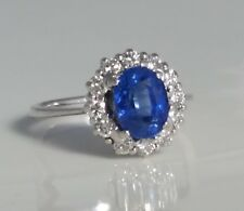 14k White Gold Ring 1.81 Carat Blue Natural Sapphire GIA Cert +0.60 TCW Diamonds