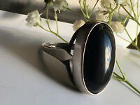 "Antique Art Deco C.30s LARGE  BLACK GEMSTONE ONYX Ring marked ""SILVER"" Size N"