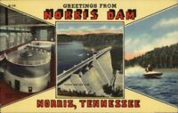 Norris Dam TN Multi-View Linen Postcard