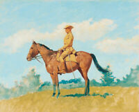 Frederic Remington General Leonard Wood On Horseback Wall Art Print Canvas Small