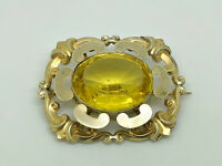 Gorgeous Antique Victorian Rolled Gold Citrine Paste Large Fancy Brooch