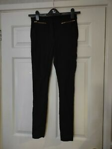 NEW LOOK SIZE 10 UK BLACK JEANS STRETCH JEGGINGS LEGGINGS ZIPS