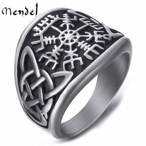 MENDEL Mens Stainless Steel Viking Celtic Triquetra Vegvisir Trinity Knot Ring