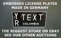 Colombia US USA License Plate Number Plate Embossed Alu Custom Border Your Text