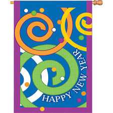 """Happy New Year House Flag Large 40"""" x 28"""""""