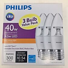 3 Pack LED PHILIPS (MED BASE E26) - 40W SOFT WHITE DIMMABLE DECORATIVE BULB B11
