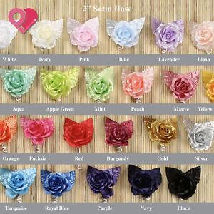 """2""""-3"""" Foam Satin Burlap Rose Bud Flower Applique Wedding Bridal Bouquet 12-96pcs"""