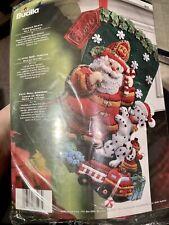 Bucilla FIREMAN SANTA Felt Christmas Stocking Kit Dog 86107 2008 dalmatian