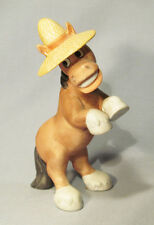 Vintage George Good Josef Bisque Rearing Horse with Straw Hat Figurine - Cute!