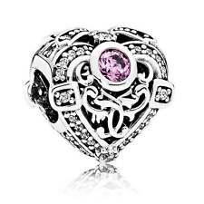 w/pouch Authentic Pandora Opulent Heart Orchid Clear CZ 791964CZO Charm Bead