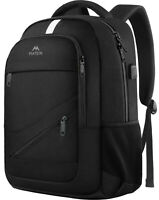 "Matein Men's Black 15.6"" Laptop Backpack Anti-Theft USB RFID Travel School Bag"