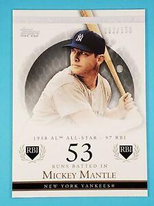2007 Topps Moments & Milestones 53 RBI Mickey Mantle Yankees #168 82/150 ⚾