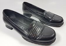 Next sole reviver black leather low block heel loafers uk 4 eu 37