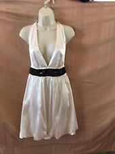 NWT KLS White Silk Halter Dress Black Bead Waistband Size 6