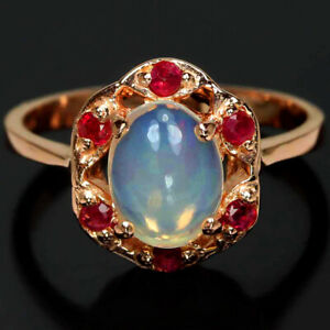GENUINE AAA RAINBOW OPAL CABOCHON  RED RUBY STERLING 925 SILVER RING SIZE 7.75