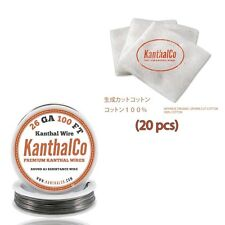 Kanthal Wire & Japanese Cotton - 100 ft 26 Gauge AWG A1 Round Wire .40mm A-1 26g
