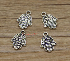 50 Hamsa Hand Charm Religious Meditation Bulk Charms Antique Silver 13x17 2498