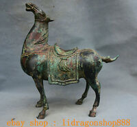 "12.8"" Ancien Chinois Bronze Dynastie Zodiaque Year Animal Guerre Cheval Statue"