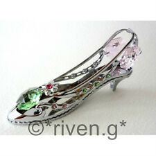 HIGH HEEL SHOE@PINK@CRYSTOCRAFT@BRIDESMAID GIFT@STRASS SWAROVSKI ELEMENTS@SILVER