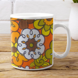 Funny Coffee Mug Vintage RETRO 60s 70s FLORAL Hippie Cute Tea Cup Ugly Gift Idea