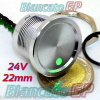 PULSANTE PIEZOELETTRICO 22mm LED VERDE 24V piezo switch momentary pulse allumini