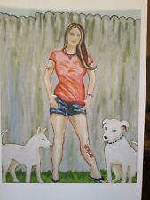 "'Emo Teen Girl with Bull Terrier & Pit Bull', Art Print, 11"" x 14"" dogs, tattoo"