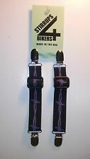 STIRRUPS 4 BIKERS.. BARBED WIRE .. MOTORCYCLE RIDER BUNGEE PANT CLIPS / CLAMPS