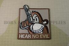 HEAR NO EVIL TACTICAL MONKEY FABRIC PATCH - Airsoft Morale Badge Wise