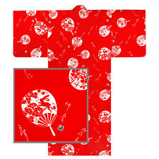 "Japanese 58""L Kimono Yukata ""UCHIWA"" Fan Pattern Cotton/ Red/ Made in Japan"