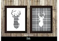 Tartan stag print, Stag print, 2 Styles available. A4 or A3 size available.