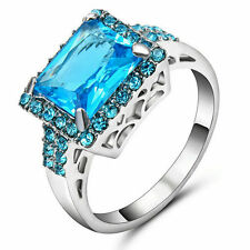 Jewelry Top Aquamarine Amethyst Gems Ring Size  8 Women's 10K White Gold Filled