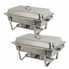 Two 8 Quart Stainless Steel Rectangular Chafing Dish Full Size Buffet Catering