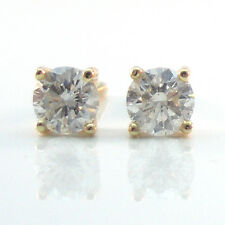 Natural 0.31 Ct Round Diamond 4 Prong Stud Earring 14K Yellow Gold I- I2