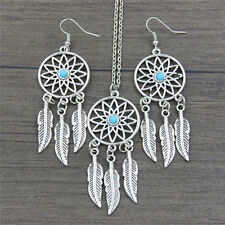 Bohemian Dreamcatcher Leaves Feather Pendant Necklace Earrings Jewelry Set RS