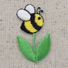 Iron On Embroidered Applique Patch Bumble Bee on Flower Stem