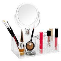 Large Acrylic Cosmetic Holder & Mirror Make Up Brushe Lipstick Mascara Organiser