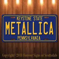 Metallica Heavy Metal Band Pennsylvania Aluminum Vanity License Plate Blue