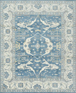 Oushak 8'x10' Blue Wool Hand-Knotted Oriental Rug