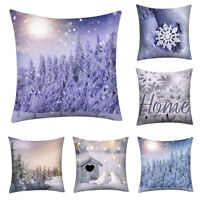Snow Christmas Printed Square Pillow Case Sofa Car Cushion Cover Home Decoration