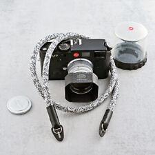 Neck or shoulder camera strap DARKROOM. Black & white cord, genuine leather