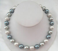 """AAA 18"""" 11-10mm natural south sea silver multicolor pearl necklace 14k Clasp"""