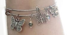 Butterfly Insect Bug Nature Swarovski Crystal Silver Charm Wire Bangle Bracelet