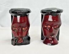 African Tribal Wood Carvings One Love One Heart Lot Of 2 Heads