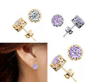 Silver Gold Crown Cubic Zirconia Stud Earrings Free Shipping