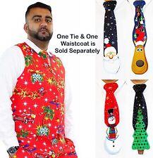 Men Christmas Fancy Waistcoat Or 3D Xmas Tie Deluxe Festive Costumes Casual Vest